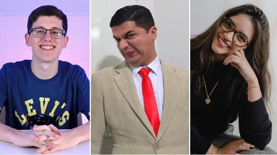 """Lucas Felpi, Rafael Lemos Bastos, o """"Mr. Bean da Matemática"""", e Débora Aladim - Divulgação e Estêvão Andrade"""