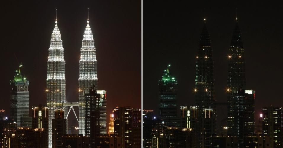 19.mar.2016 - Na Malásia, as Torres Petronas tiveram as luzes apagadas durante a Hora do Planeta, que está em sua 10ª edição. Mais de 150 países participaram da ação da WWF neste ano
