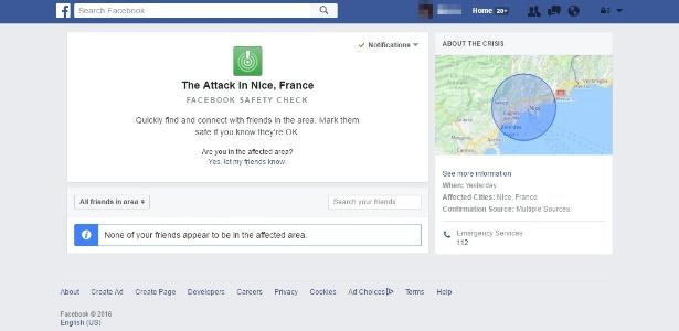 Página do check-in de segurança do Facebook para ataque em Nice