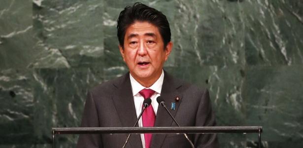 O premiê do Japão, Shinzo Abe, discursa na Assembleia-Geral da ONU, em Nova York