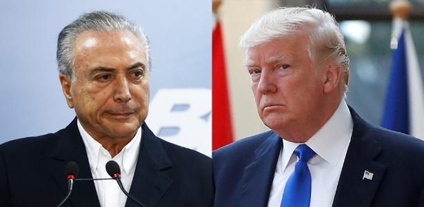 Os presidentes Michel Temer e Donald Trump
