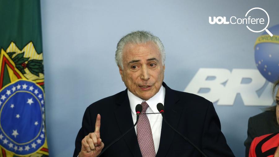 Presidente Michel Temer faz pronunciamento no Palácio do Planalto nesta terça-feira (27) - Walterson Rosa/FramePhoto