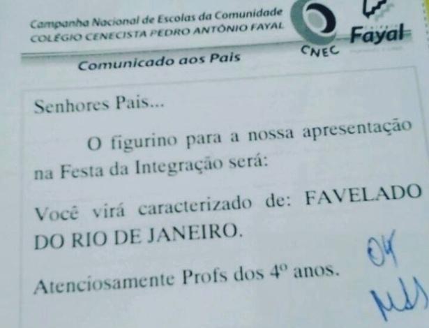 "Colégio de SC orienta aluno a se fantasiar de ""favelado do Rio de Janeiro"""