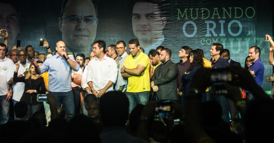 28.out.2018 - Wilson Witzel (PSC) comemora eleição para governo do Rio de Janeiro no Hotel Ramada, no Rio de Janeiro. Ele venceu Eduardo Paes (DEM) com 59,87% dos votos