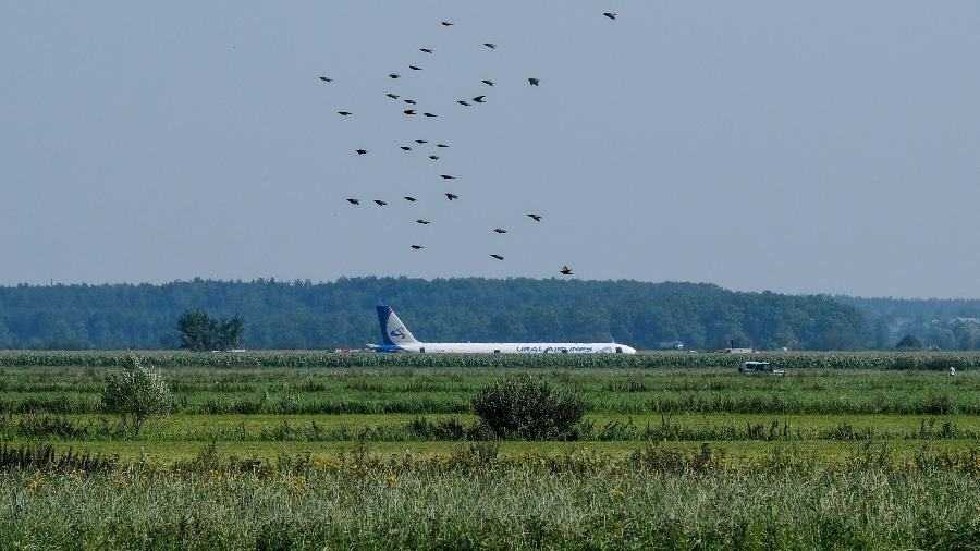 Aviao tinha 233 pessoa a bordo e pousou com motores desligados - Yuri Kadobnov/AFP