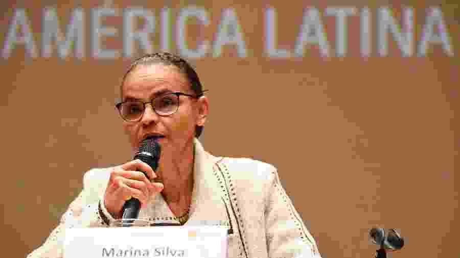 22.ago.2019 - Marina Silva (Rede Sustentabilidade) fala durante conferência hoje na Universidade de Bogotá - Juan Barreto/AFP
