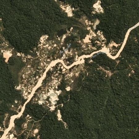 Garimpo de ouro no rio Marupá, nas proximidades da Terra Indígena Munduruku, no Pará - Planet Labs