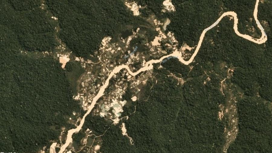 Garimpo de ouro no rio Marupá, nas proximidades da Terra Indígena Munduruku, no Pará; Juiz Federal aceitou pedido do MPF - Planet Labs