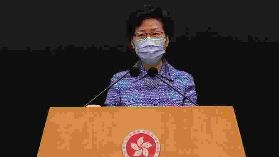 """Líder executiva de Hong Kong, Carrie Lam citou """"duplo padrão aplicado"""" ao abordar ação dos EUA - TYRONE SIU"""