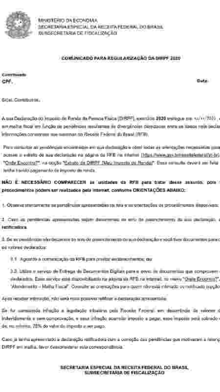 Modelo de carta que Receita Federal enviará a contribuintes com declaração do IRPF 2020 retida na malha fina - Divulgação/Receita Federal - Divulgação/Receita Federal