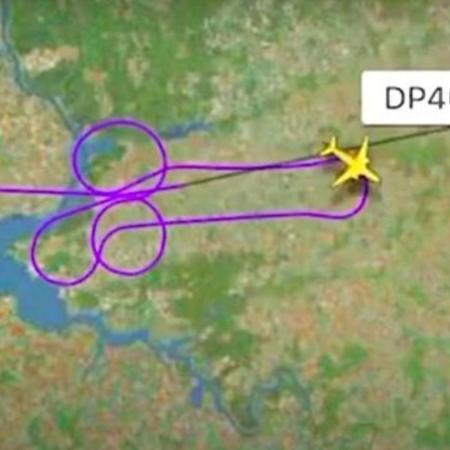 Rota aérea com formato de pênis traçada por pilotos, que estão sendo investigados - Reprodução