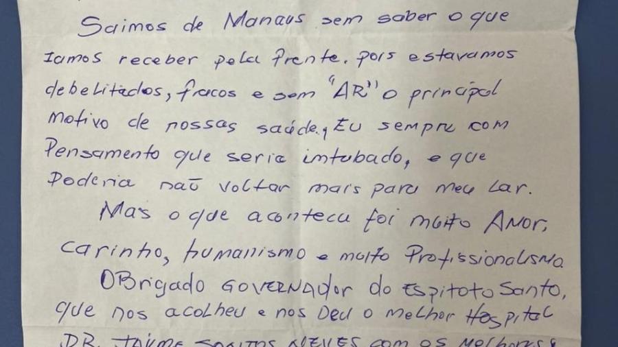 03.fev.2021 - Carta escrita pelo paciente Afrânio Guimarães após receber alta do hospital no ES. Ele foi um dos pacientes com covid-19 transferidos de Manaus para outros estados para tratar a doença  - Divulgação/Twitter