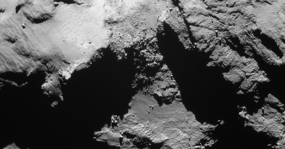 6.ago.2015 - Em fevereiro de 2015, o padrão de trajetória da sonda Rosetta mudou, alternando entre sobrevoos próximos e distantes, a fim de fazer o melhor uso de seu conjunto de instrumentos científicos em seu estudo sobre os vários aspectos do cometa 67P / Churyumov-Gerasimenko e seu ambiente. Em 14 de fevereiro, a Rosetta registrou uma aérea do corpo a uma distância de apenas 6 km da superfície. . Em 6 de agosto de 2014, a Rosetta iniciou observações detalhadas, incluindo o mapeamento da superfície do núcleo em busca de um local de pouso adequado para sonda Philae