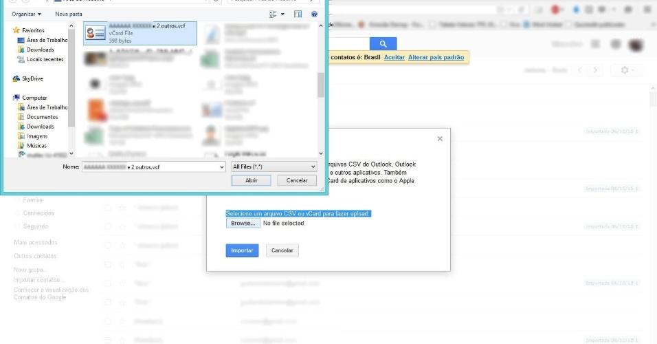 """De iPhone para Android - Passo 9: Abrirá uma janela na qual você vai selecionar o arquivo """"(Primeiro nome da lista de contatos) e X (número de contatos restantes) outros.vcf"""", criado no passo 6 deste tutorial e salvo na área de trabalho ou na pasta escolhida por você."""