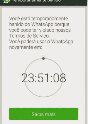 Tela mostra conta de WhatsApp banida no Brasil: aplicativo pode ser bloqueado temporariamente ou para sempre - Reprodução