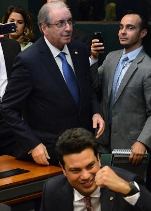 Eduardo Cunha vê vitória de Leonardo Picciani (abaixo), reeleito para o comando do PMDB na Câmara