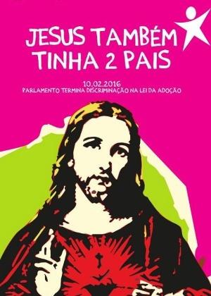 """""""Jesus também tinha dois pais"""", diz cartaz que celebra aprovação da adoção por casais gays"""