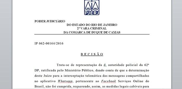 Decisão da juíza DANIELA BARBOSA ASSUMPÇÃO DE SOUZA que pede o bloqueio do WhatsApp