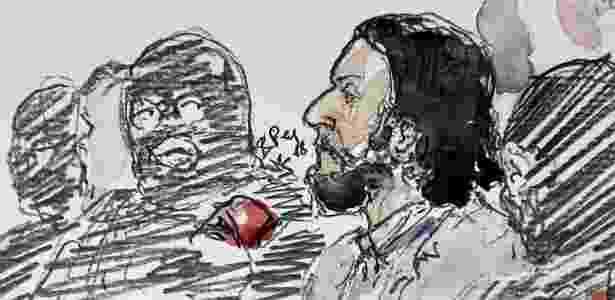 Reprodução da imagem de Salah Abdeslam no tribunal em Bruxelas - Benoit Peyrucq/AFP