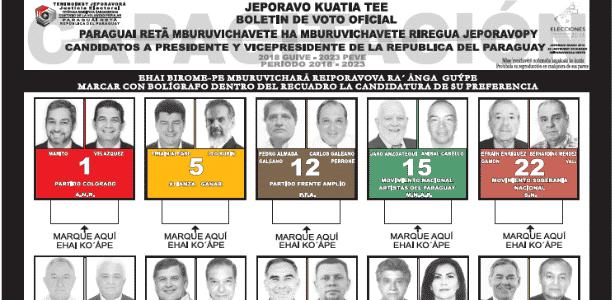 Cédula eleitoral paraguaia - Tribunal Superior de Justicia Electoral del Paraguay / Cessão ao UOL - Tribunal Superior de Justicia Electoral del Paraguay / Cessão ao UOL