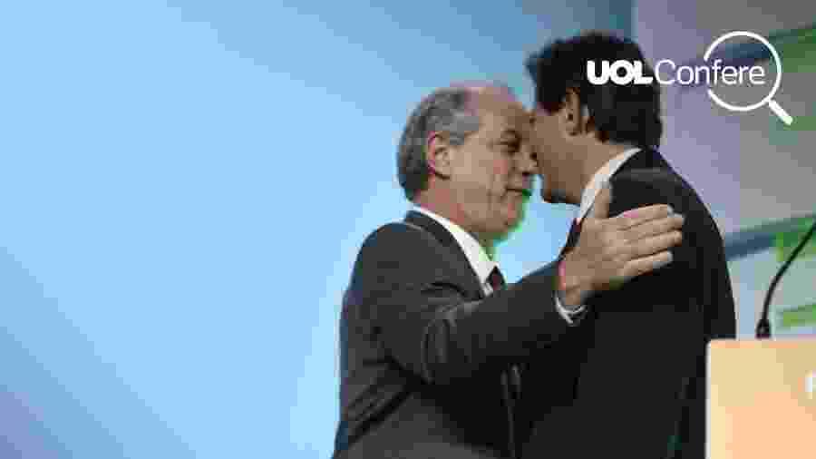 Ciro Gomes e Fernando Haddad se encontram em debate na TV Aparecida - Arte/UOL