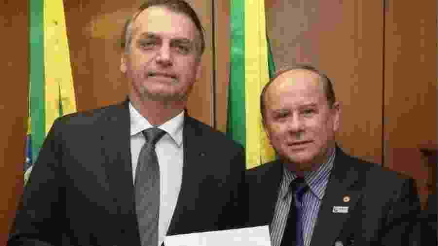 Bolsonaro e Aguiar Neto durante encontro em março passado, quando professor ainda liderava entidade de reitores - Marcos Correa/PR