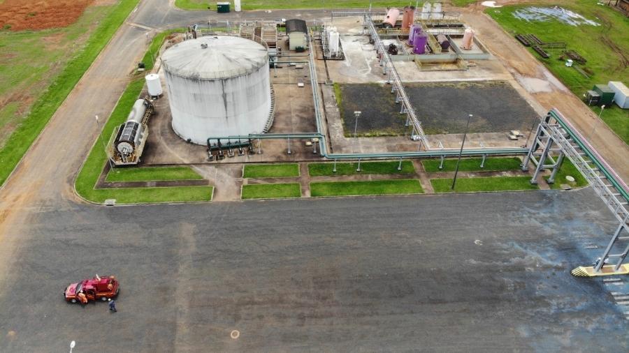 15.fev.2020 - Usina em Uberaba, no Triângulo Mineiro, onde sete funcionários ficaram feridos após um vazamento de ácido sulfúrico - Corpo de Bombeiros de Minas Gerais