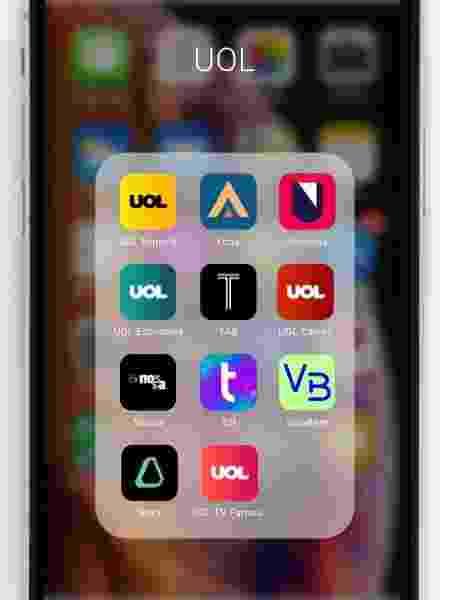 Celular com ícones dos canais UOL - Arte/UOL