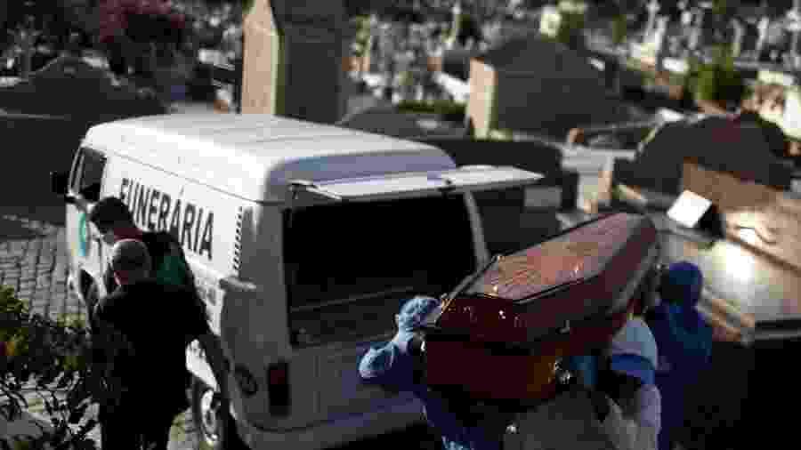 Coveiros vestindo roupas de proteção carregam o caixão de Andre Wendel, que morreu da doença de coronavírus (COVID-19), no cemitério São João Batista, no Rio de Janeiro - PILAR OLIVARES/REUTERS