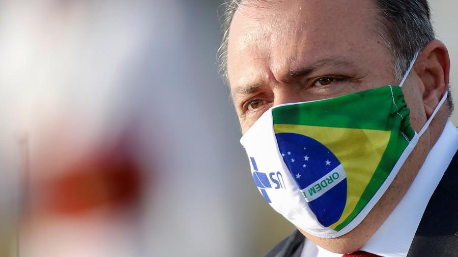 Ministro interino da Saúde, general Eduardo Pazuello, em Brasília -