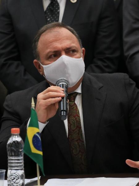 O ministro da Saúde, Eduardo Pazuello, nega que esteja doente ou que já tenha entregado o cargo - Alex Falcão/Futura Press/Estadão Conteúdo