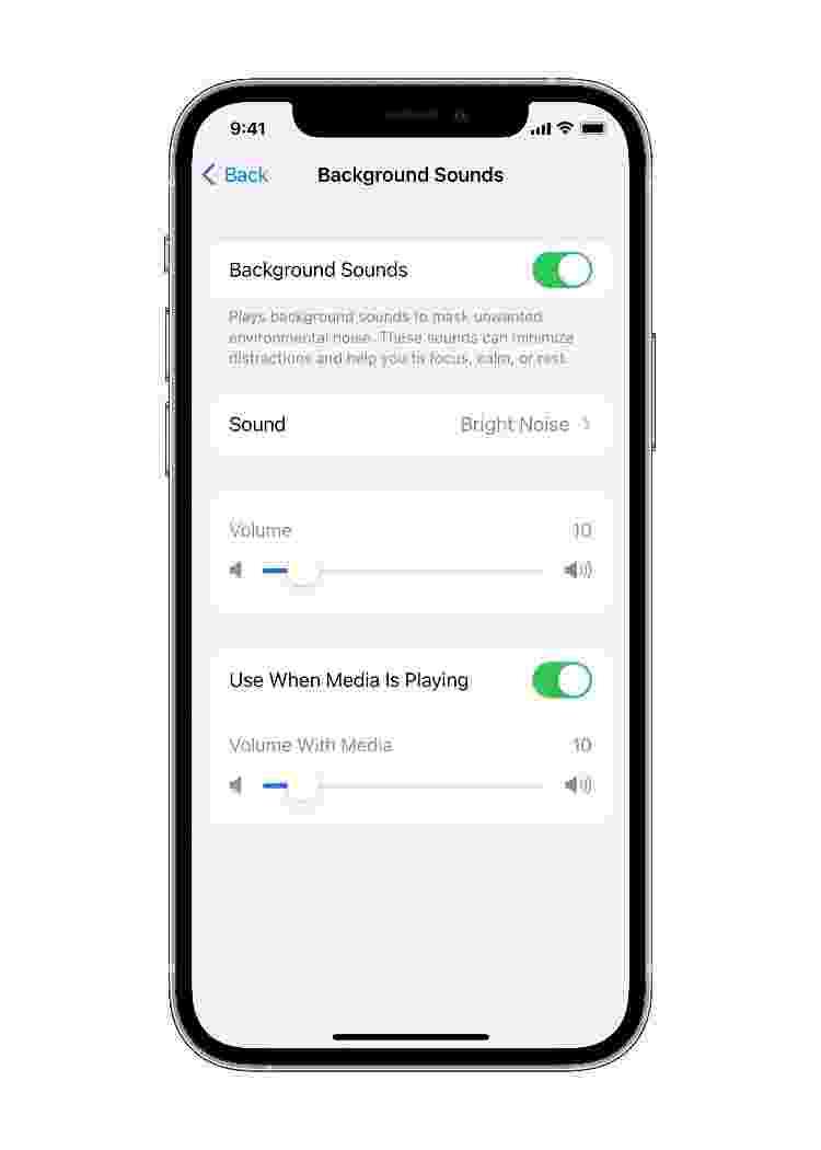 acessibilidade background sounds - Divulgação/ Apple - Divulgação/ Apple