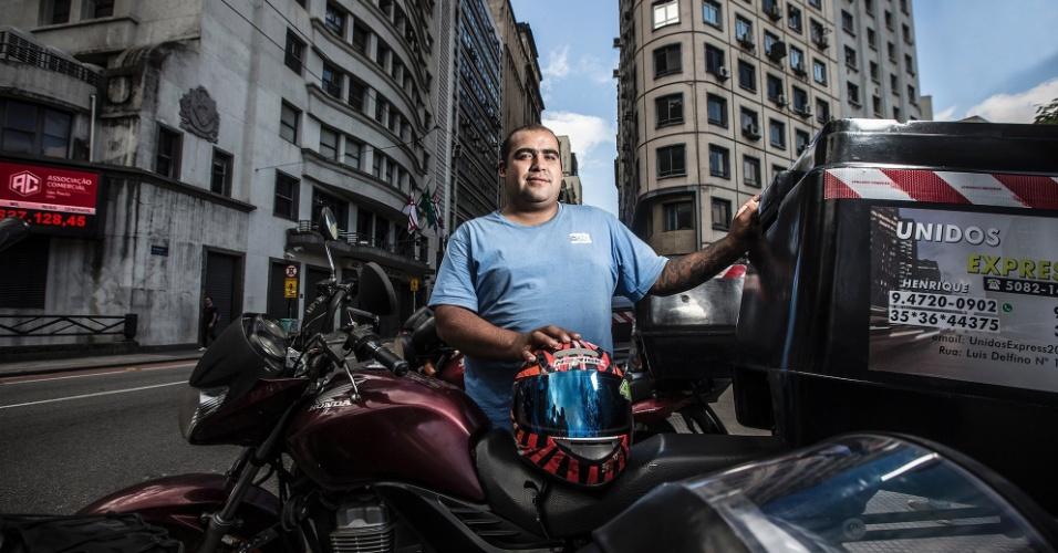 Henrique Lima de Albuquerque, 30 anos, é motoboy e fazia entregas na Rua Boa Vista na última quinta feira.