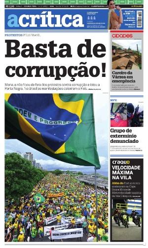 AM: Capa do jornal A Crítica de 14 de março de 2016