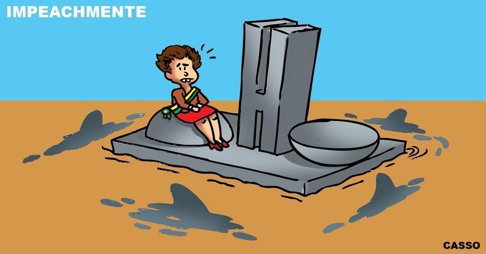 """16.mar.2016 - O chargista Casso brinca com as palavras """"impeachment"""" e """"mente"""". Ele mostra a presidente Dilma isolada no Congresso e cercada por tubarões em um mar de lama"""
