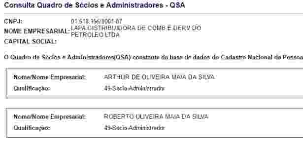 Base de dados da Receita Federal mostra que o relator da Reforma da Previdência na Câmara, Arthur Maia (PPS-BA), é sócio de uma distribuidora de combustíveis na Bahia - Reprodução/Receita Federal