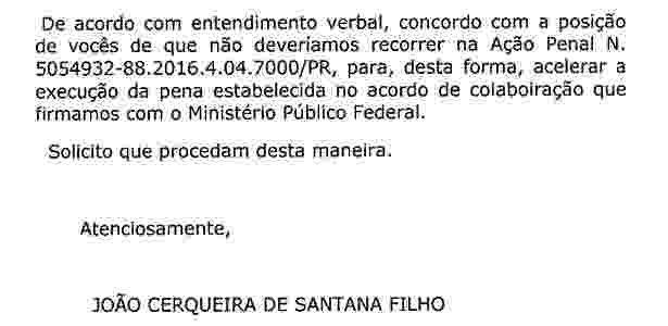 Santana enviou mensagem a seu advogado no fim da madrugada desta terça-feira (11) - Reprodução - Reprodução