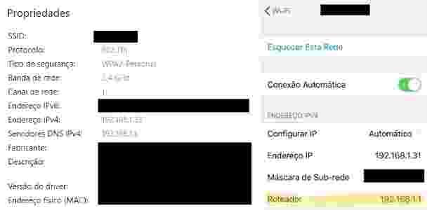 Endereço do roteador nas propriedades de rede do Windows 10 (e) e do iPhone (d) - Reprodução