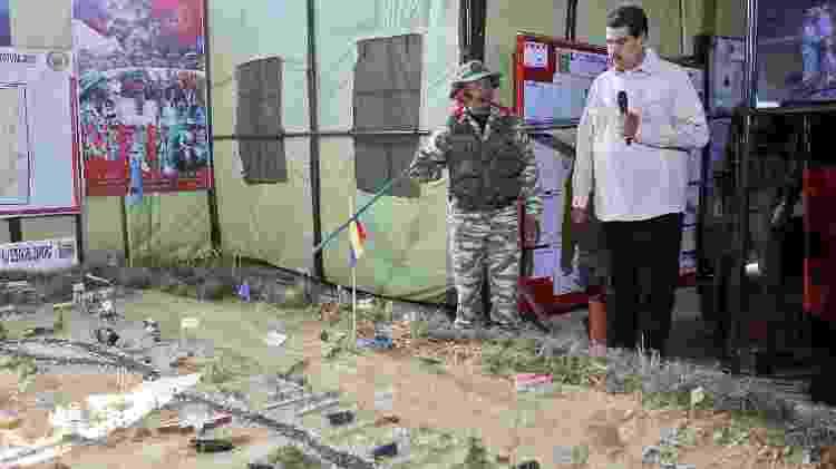 10.fev.2019 - O ditador Nicolás Maduro participa de exercício militar no estado de Miranda - AFP