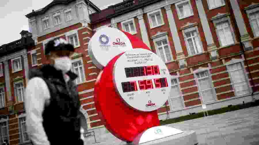 Relógio com contagem regressiva para os Jogos de 2020 em Tóquio - EDGARD GARRIDO