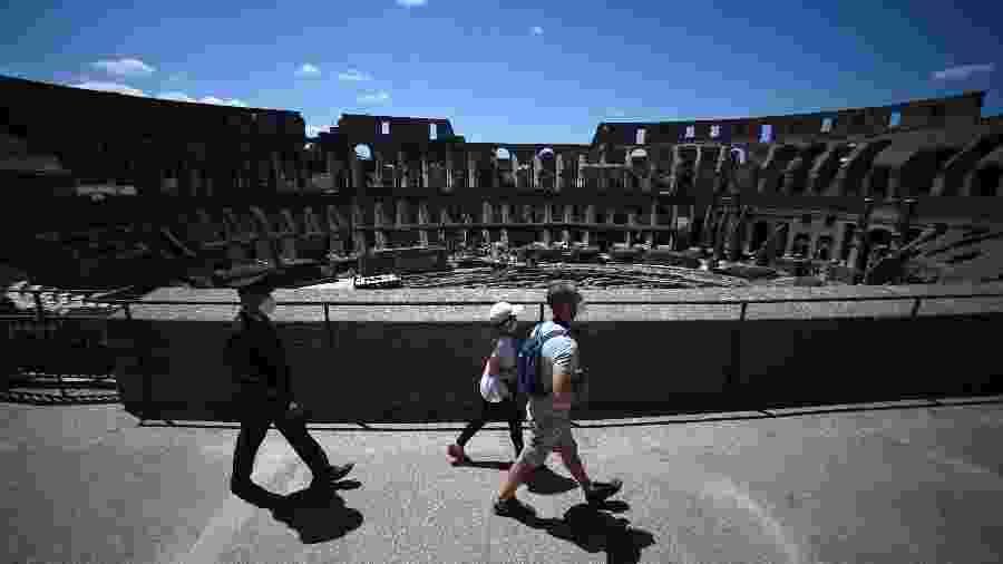 Coliseu recebeu poucos visitantes em reabertura após três meses por conta da pandemia de coronavírus - Filippo MONTEFORTE / AFP