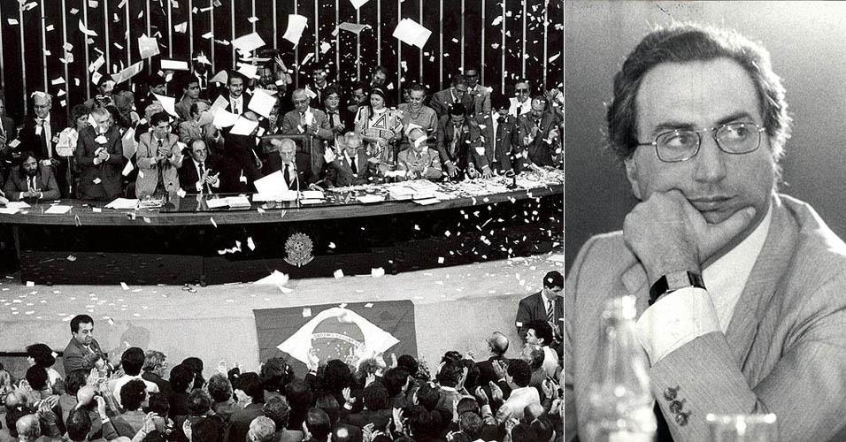 Plenário do Congresso Nacional, em 5 de outubro de 1988, na seção de promulgação da atual Constituição Federal; e o deputado da Assembleia Constituinte e professor da PUC Michel Temer no Seminário de Tributação e Constituinte, em 26 de outubro de 1987