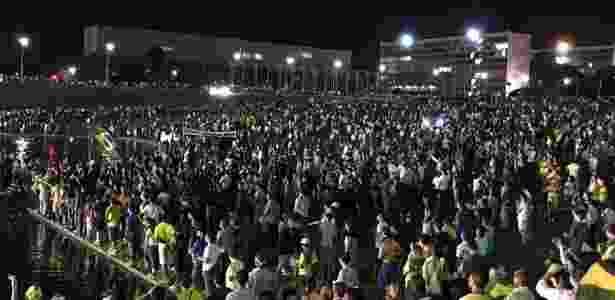 16.mar.2016 - Manifestantes protestam contra nomeação de Lula ao ministério da Casa Civil em frente ao Palácio do Planalto, em Brasília (DF) - Vítor Garcia Gabriel/Via Facebook - Vítor Garcia Gabriel/Via Facebook