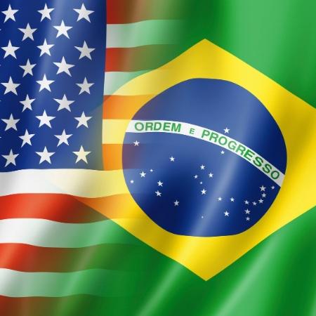 Bandeiras entrelaçadas Brasil e EUA, bandeiras Brasil x EUA, Brasil, Estados Unidos - Getty Images