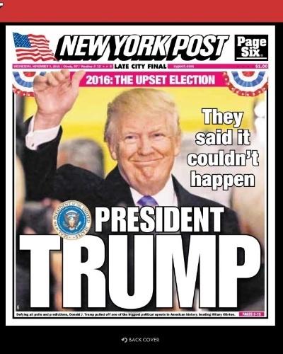 """09.nov.2016 - O tabloide americano New York Post traz em sua contra-capa a manchete sobre a vitória de Trump. """"Falaram que isso não podia acontecer"""", ironiza o jornal"""