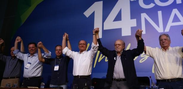 Alckmin e Goldman durante convenção do PSDB em dezembro