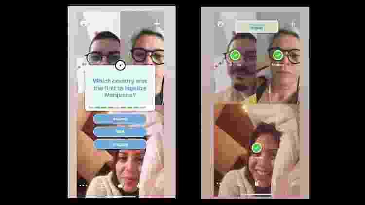 Manuela Reis (abaixo) usa app Houseparty com amigos - Arquivo pessoal