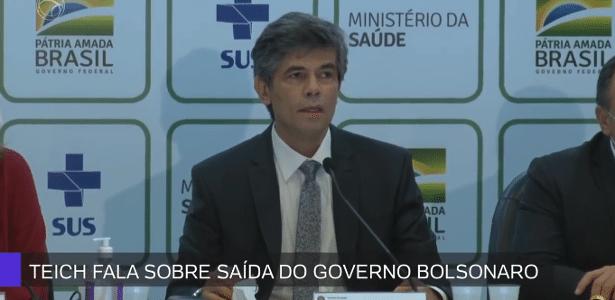 Ministro deixa governo   Ao deixar Saúde, Teich elogia estados e municípios e diz que escolheu sair