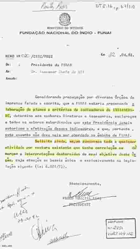 """Ofício do então presidente da Funai, o militar Paulo Moreira Leal, que determinou a paralisação de estudos sobre """"critérios de indianidade"""" em 1982 - Acervo do Arquivo Nacional/Reprodução - Acervo do Arquivo Nacional/Reprodução"""