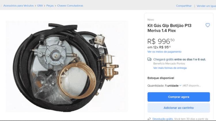 Kit para conversão clandestina de automóvel para GLP à venda no Mercado Livre - Reprodução/BBC - Reprodução/BBC